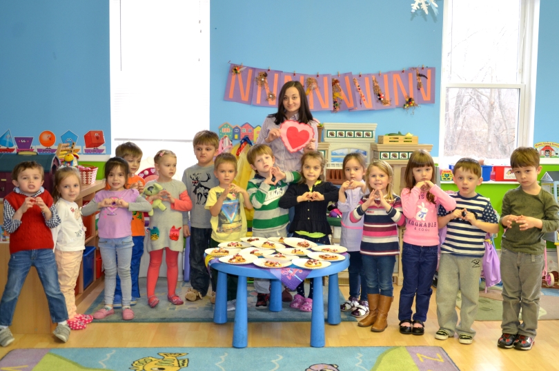 "Pre-kindergarten students of ""Baby Genius Day Care Center"" made Valentine cookies for their parents"