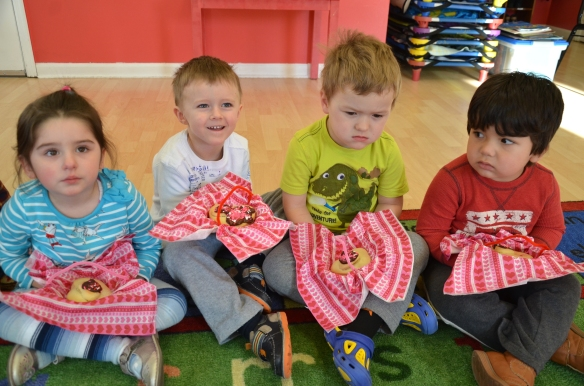 "Preschool students of ""Baby Genius Day Care Center"" made heart-shaped Valentine cookies as gifts for their parents"