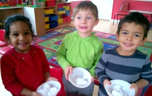 Preschoolers observed how the snow was melting